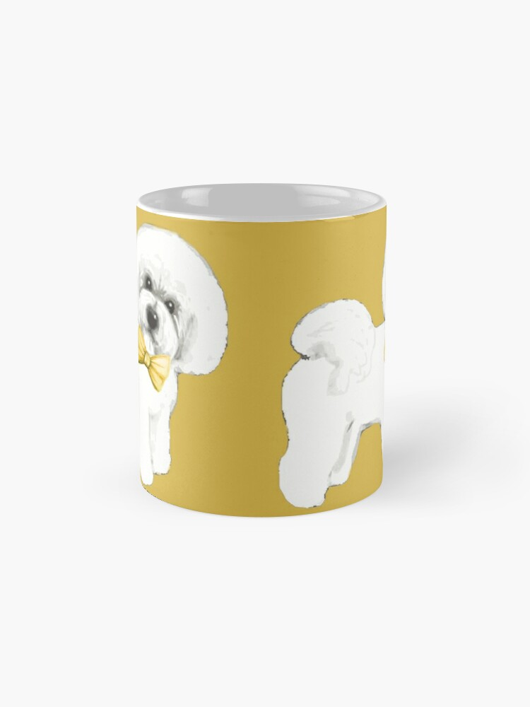 Alternate view of Bichon Frise on Mustard yellow, with bow Classic Mug
