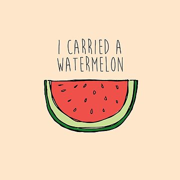 watermelon on cream by laurathedrawer