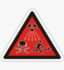 Radiation danger - high level sources sign. Red triangle. Sticker