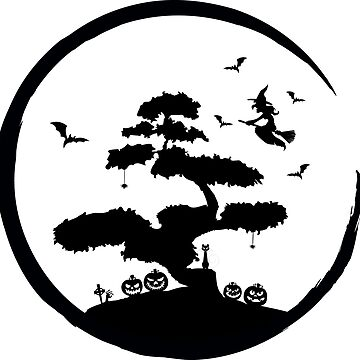 Halloween Bonsai Tree Zen Enso Circle  by AlmostBrand