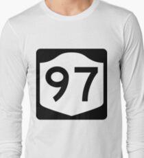 Camiseta de manga larga New York State Route NY 97 | United States Highway Shield Sign