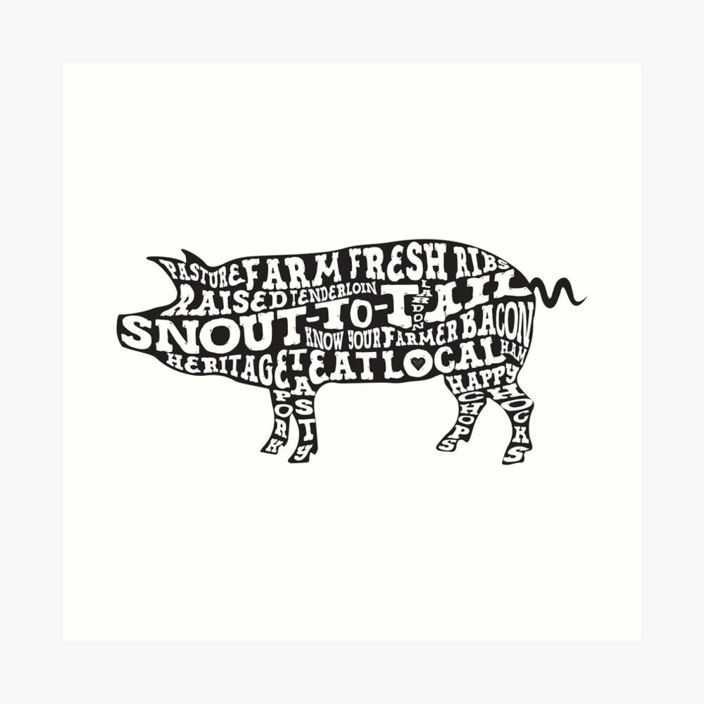 Whole Hog Black Art Print