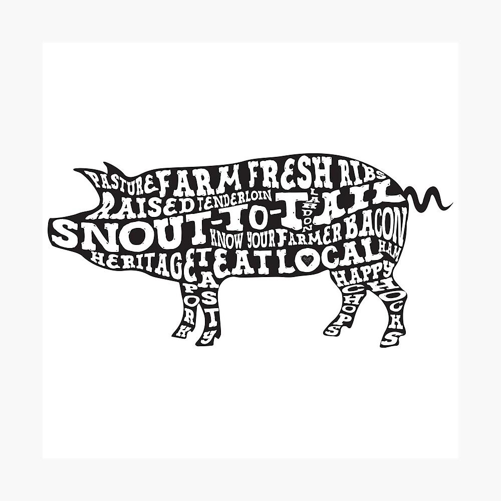 Whole Hog Black Photographic Print