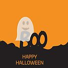 Happy Halloween Ghost BOO Orange and Black design by sigdesign