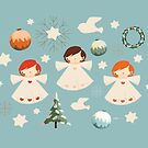 Vintage Christmas Angels by Karin Taylor