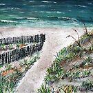 acrylic beach painting art print by derekmccrea