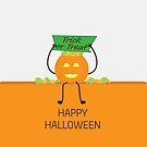Halloween Green and Orange Pumpkin and candies by sigdesign