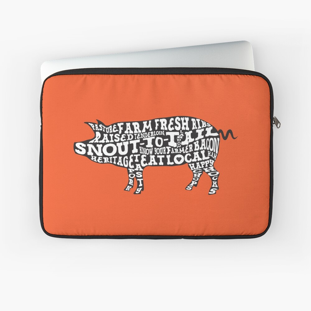 Whole Hog Black Laptop Sleeve