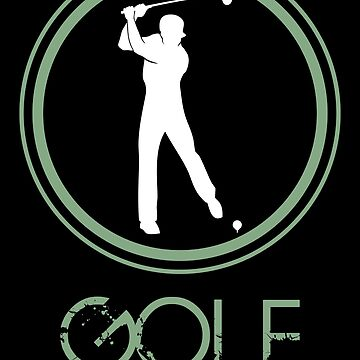 Silhouette of a golfer man in white color for a golf club by MegaSitioDesign