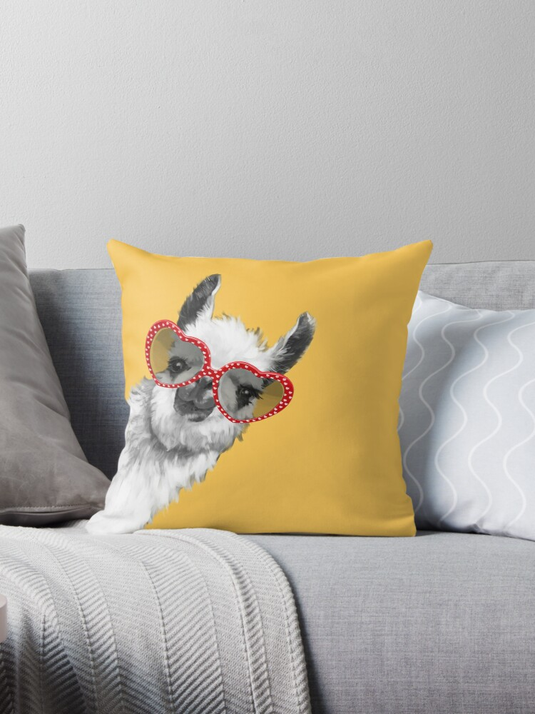 Quot Fashion Hipster Llama With Glasses Quot Throw Pillows By