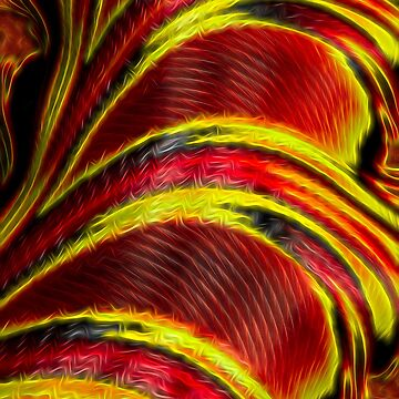 Liquid Yellow Red Stripe Fractal by bloomingvine