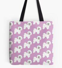 Bichon Frise Hunde auf lila, lila Tasche