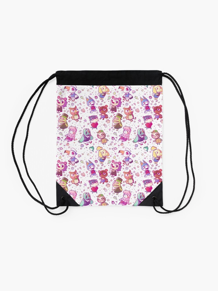 Alternate view of Animal Crossing Pattern Drawstring Bag