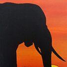 elephant sunset by dave reynolds