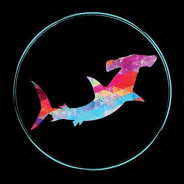 Hammerhead Shark Retro Polygonal Style by Pingestre