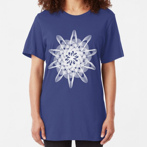 Spirograph with white Slim Fit T-Shirt