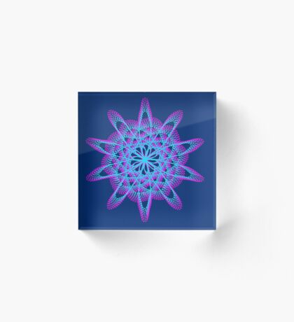 Spirograph with pink and blue Acrylic Block