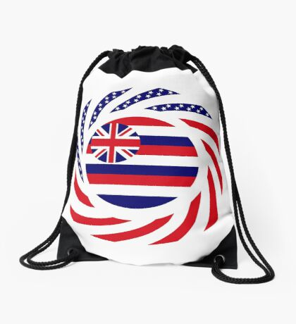 Hawaiian Murican Patriot Flag Series Drawstring Bag