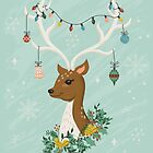 Vintage Inspired Deer with Decorations by latheandquill