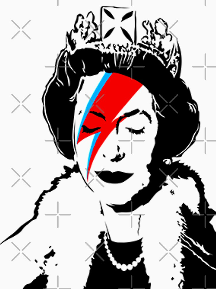 The Queen as Ziggy Stardust - Banksy by retropopdisco