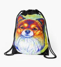 Colorful Long Haired Chihuahua Dog Drawstring Bag