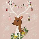 Holiday Deer with Decorations in Blush Pink by latheandquill