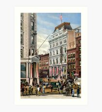 Rare large view of the New York Stock Exchange 1882 Art Print