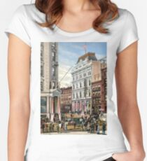 Rare large view of the New York Stock Exchange 1882 Women's Fitted Scoop T-Shirt