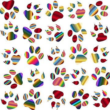 Bright Colorful Dog Paw Print Pattern-Small by Gypsykiss
