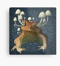 Toad and Mushrooms Metal Print