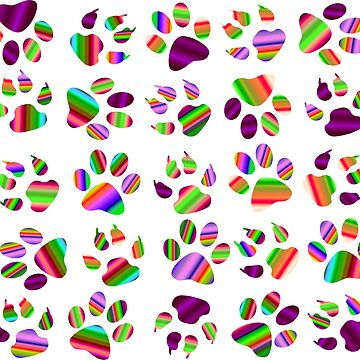 Bright Colorful Dog Paw Print Pattern-Large by Gypsykiss