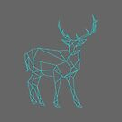 Geometric Deer Print Turquoise Grey Background Nature Animal by ladyluck777