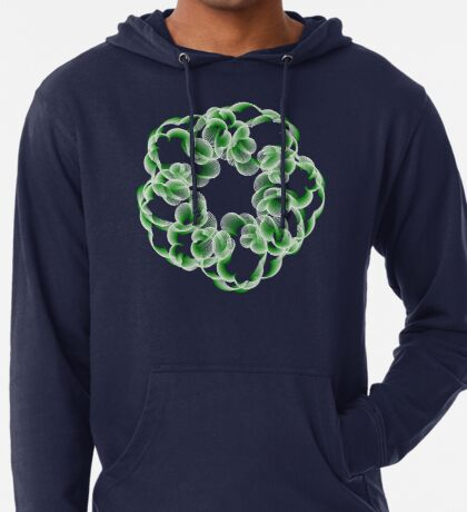 Spirals with Green and White Lightweight Hoodie