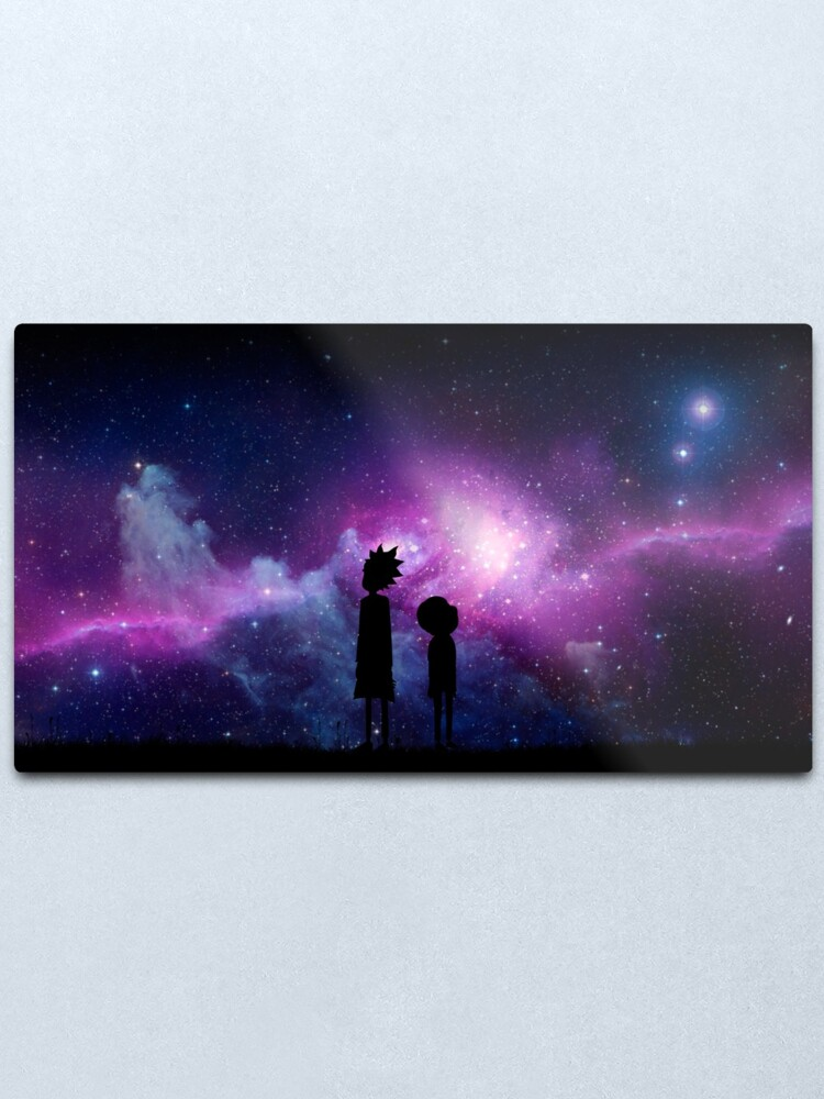 Alternate view of Minimalist Rick and Morty Space Design Metal Print