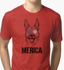 German Shepard Merica  Tri-blend T-Shirt
