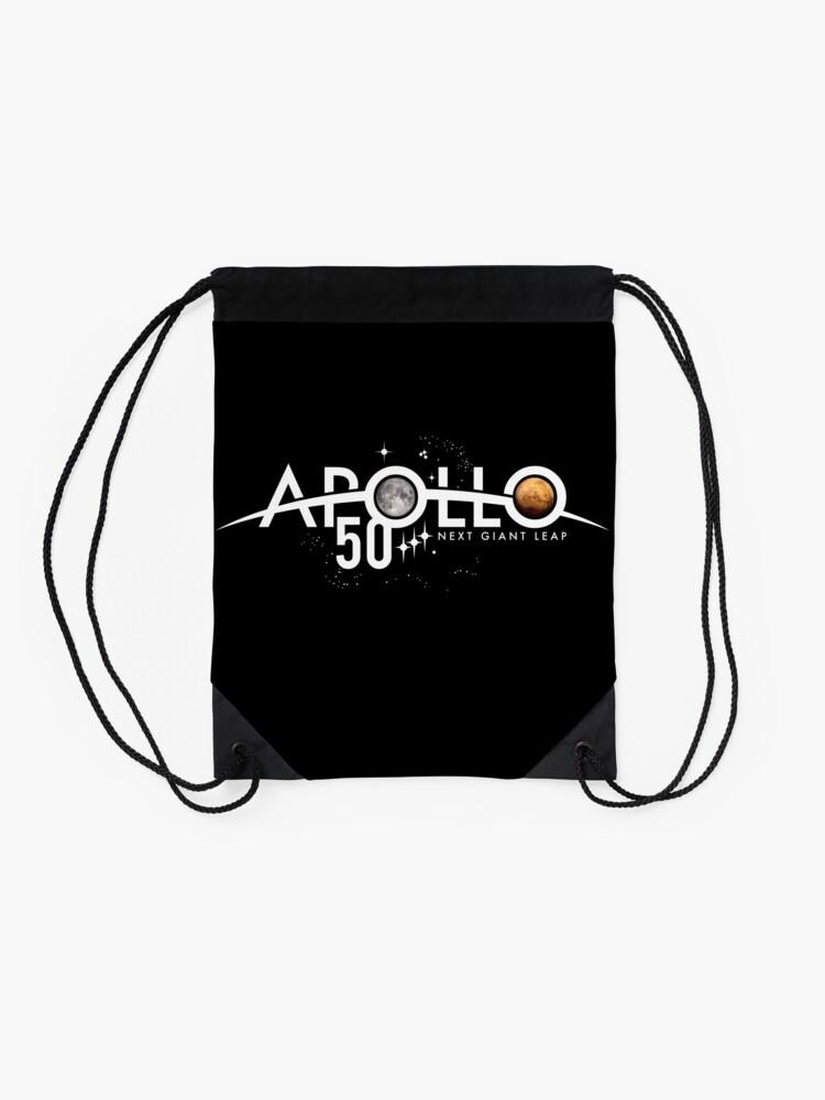 Alternative Ansicht von Apollo 50th Anniversary Logo - Nächster Riesensprung - Zuerst der Mond, nächster Mars! Turnbeutel