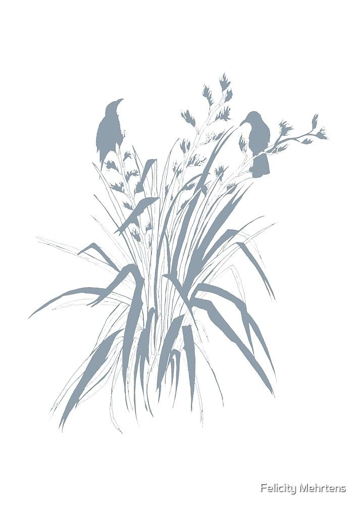 Harakeke- Tui in Flax- Blue Grey by Felicity Mehrtens