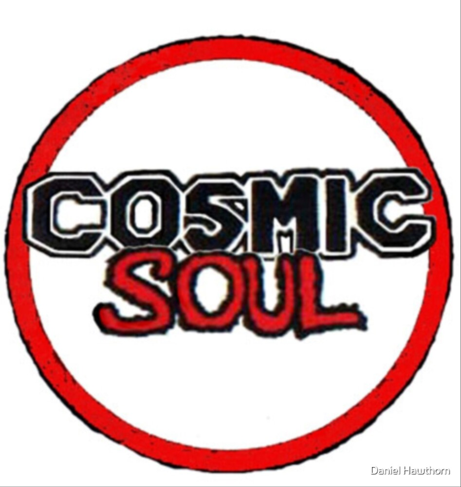 Cosmic Soul -  Red Round Logo White With White Background by Daniel Hawthorn