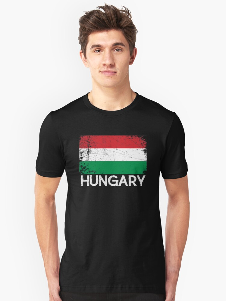 Hungarian Flag Design   Vintage Made In Hungary Gift Unisex T-Shirt Front