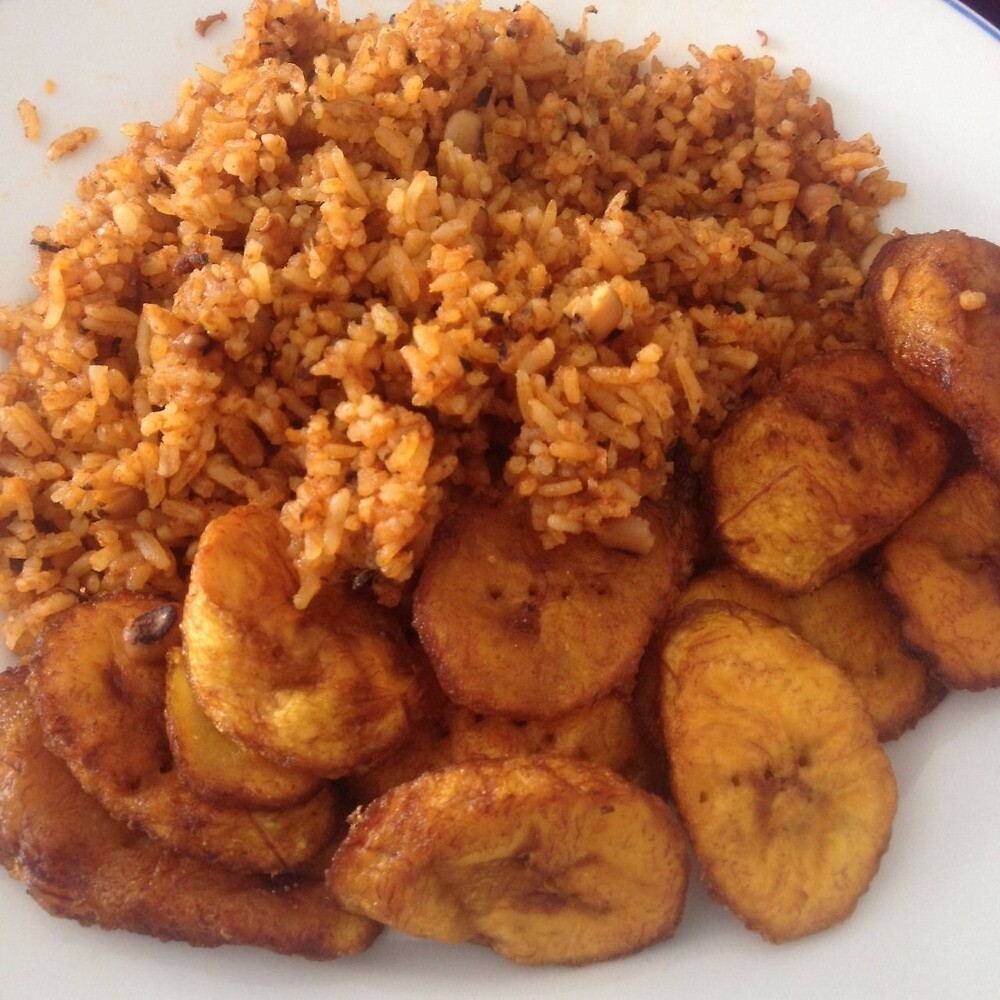 Jollof Rice and Fried Plaintain by Cheryl Mensah