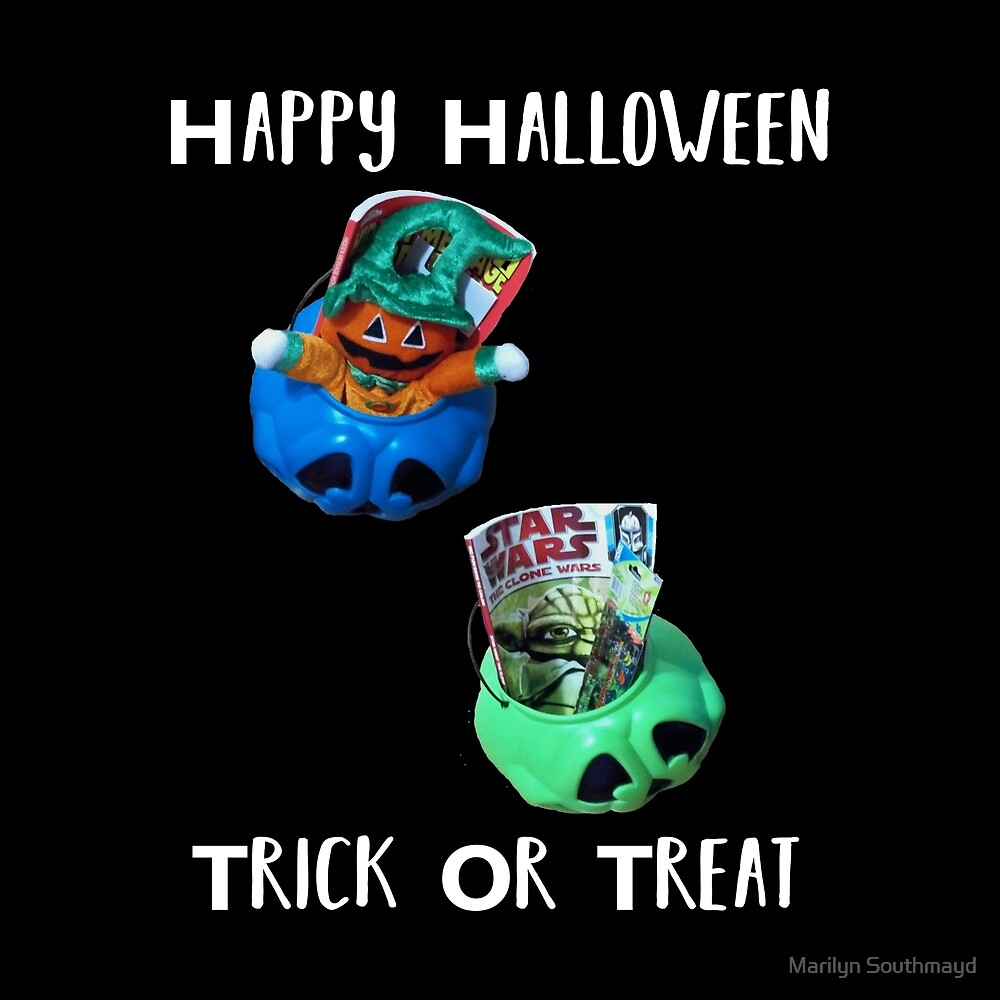 Happy Halloween Trick or Treat Two Treat Bucket Full by Marilyn Southmayd