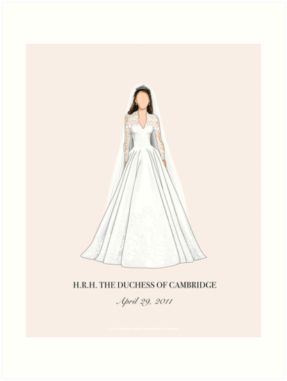 Kate Middleton Minimal Wedding Dress Wall Art Print (In Parchment Beige) by Leah Zhao