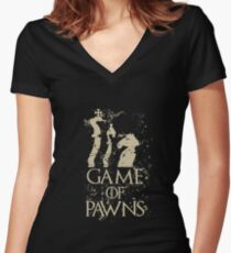 Game Of Pawns Chess Women's Fitted V-Neck T-Shirt
