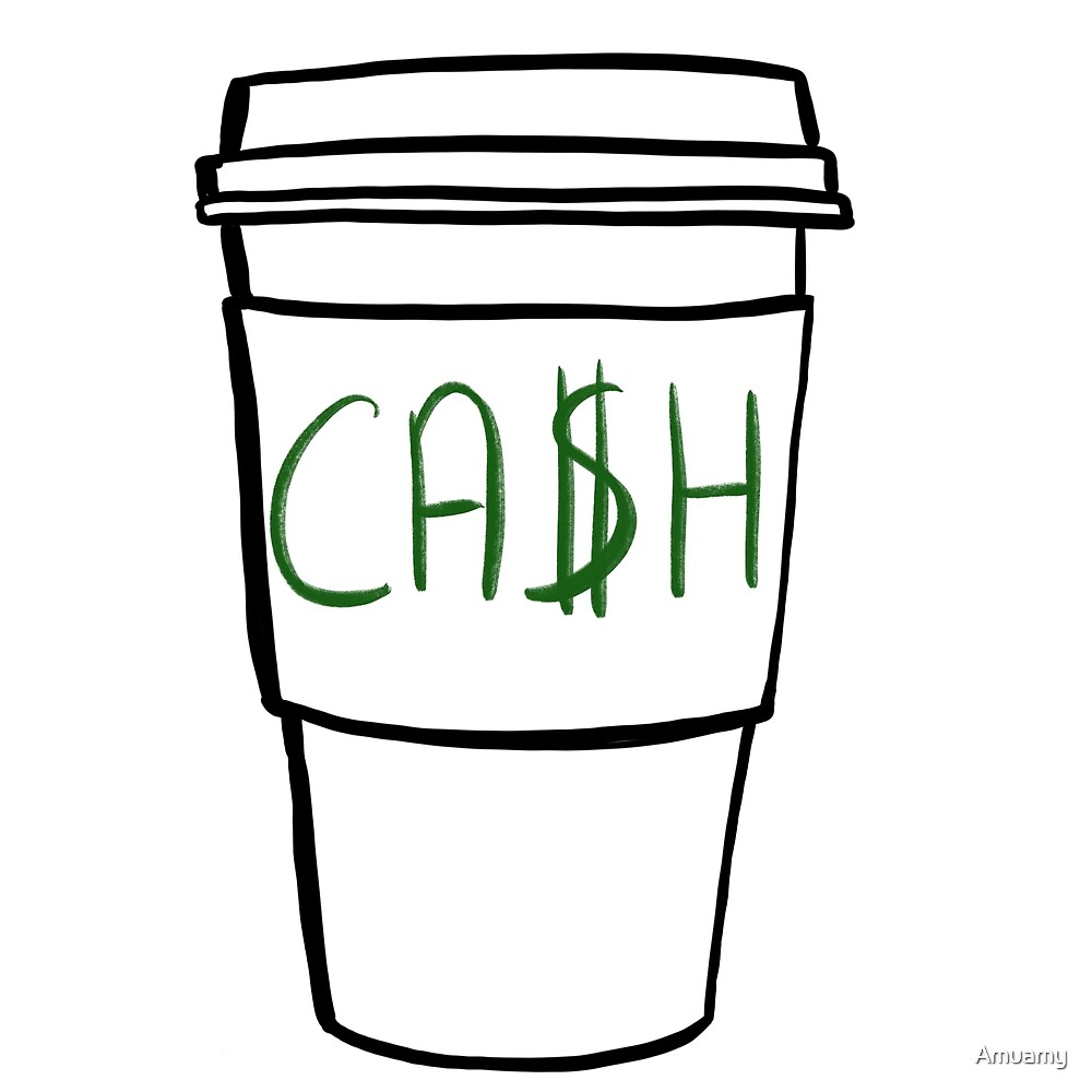 Cash in a Takeaway Coffee cup - Black Pencil  by Amuamy