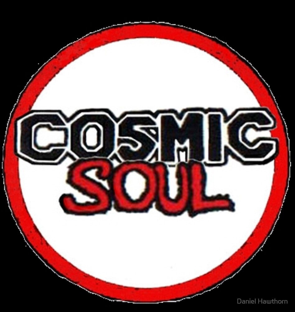 Cosmic Soul Red Round Logo Art with Black Background by Daniel Hawthorn