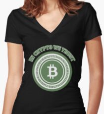 BITCOIN - In Crypto We Trust Women's Fitted V-Neck T-Shirt