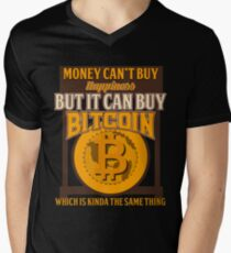 BITCOIN - Money Can't Buy Happiness. But It Can Buy Bitcoin Men's V-Neck T-Shirt