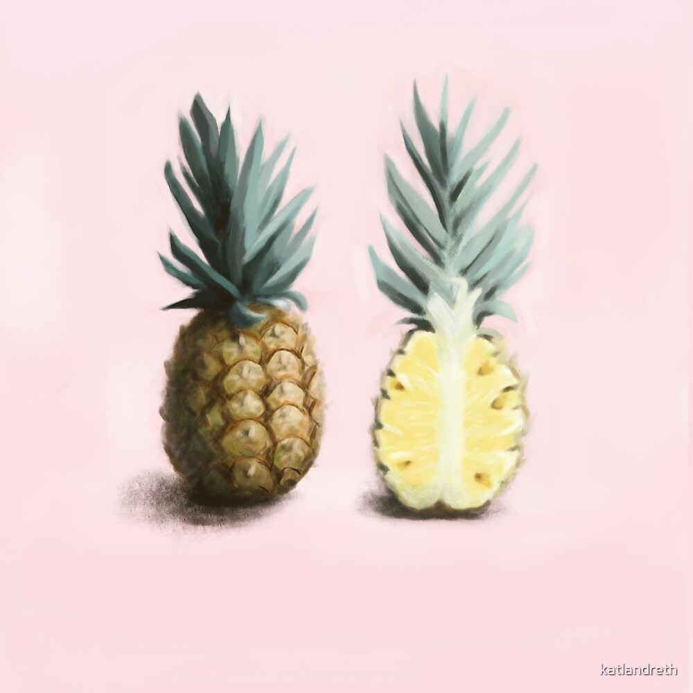 Pineapple Welcome Art, Pink and Yellow Pineapple Painting by katlandreth