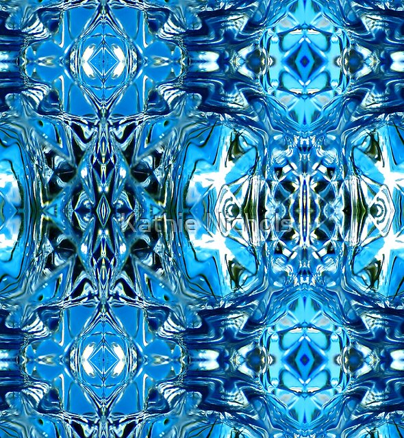 Abstract Blue Glass Design by Kathie Nichols