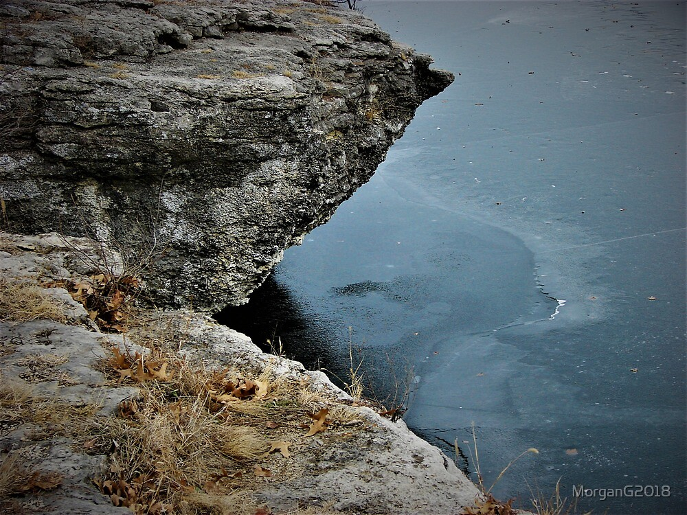 Cliff Over Frozen Lake  by MorganG2018